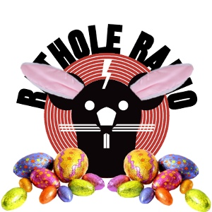 Easter version of the show logo with Easter eggs and bunny ears.