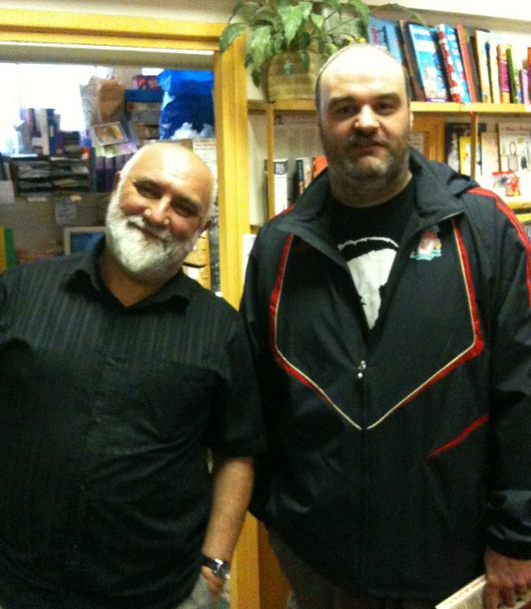 Me stood next to Alexei Sayle in the News From Nowhere book shop